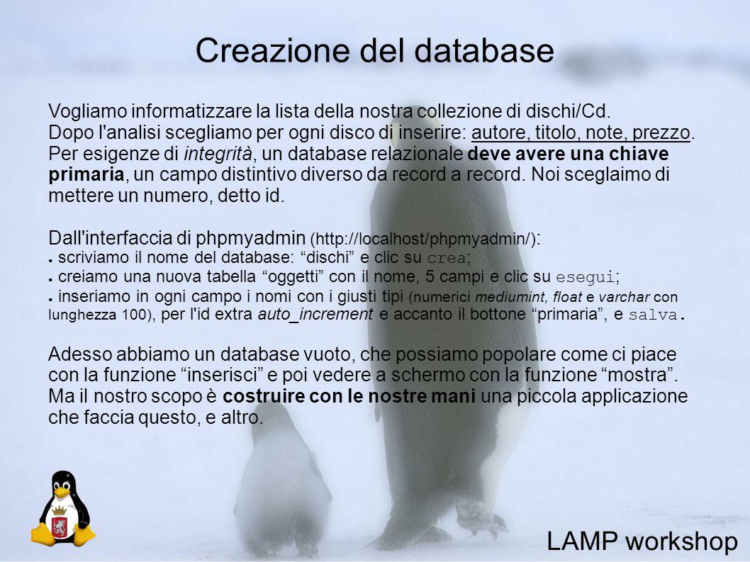 Creazione del database Vogliamo informatizzare la lista della nostra collezione di dischi/Cd.