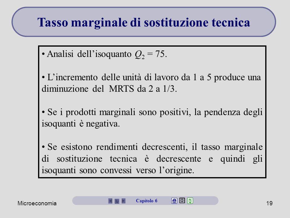 Microeconomia19 Analisi dell'isoquanto Q 2 = 75. L'incremento delle unità di lavoro da 1 a 5 produce una diminuzione del MRTS da 2 a 1/3. Se i prodott