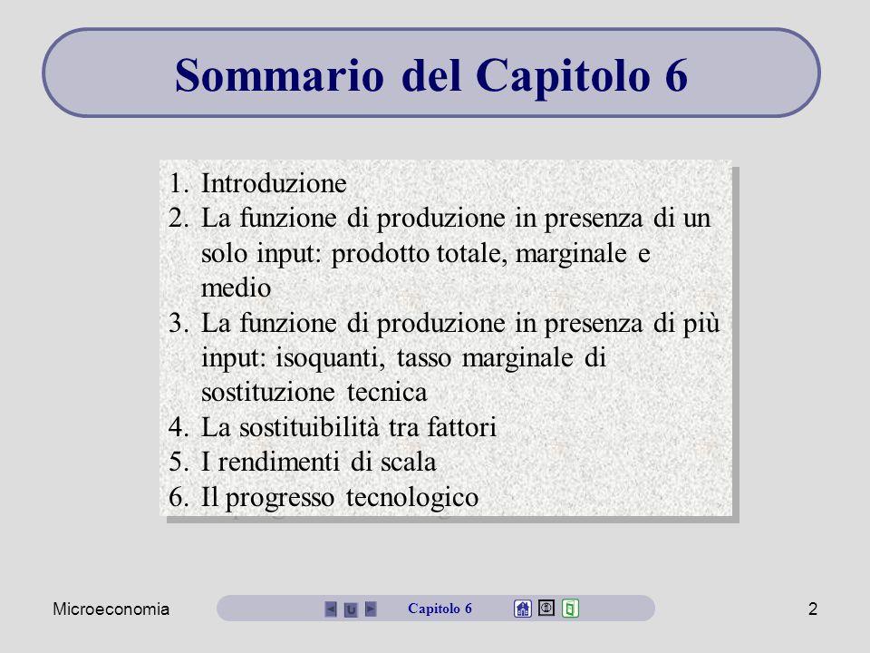 Microeconomia2 Sommario del Capitolo 6 1.Introduzione 2.La funzione di produzione in presenza di un solo input: prodotto totale, marginale e medio 3.L
