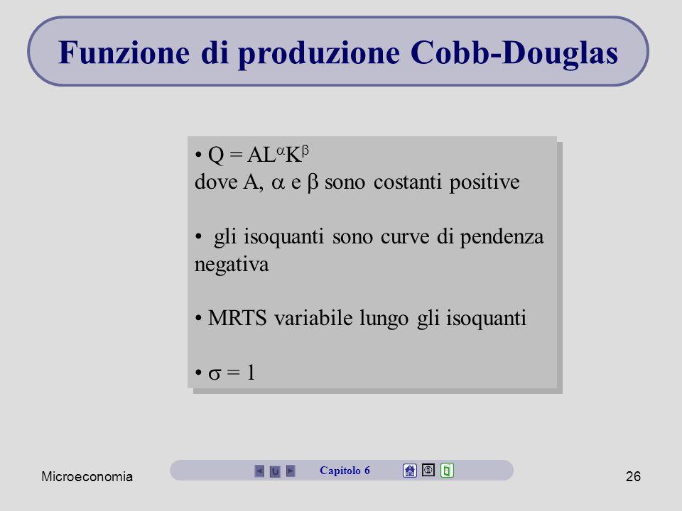 Microeconomia26 Funzione di produzione Cobb-Douglas Q = AL  K  dove A,  e  sono costanti positive gli isoquanti sono curve di pendenza negativa MR