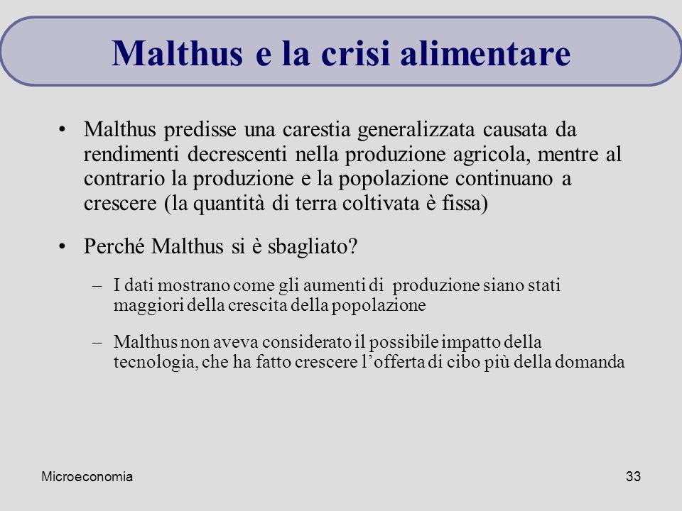Microeconomia33 Malthus predisse una carestia generalizzata causata da rendimenti decrescenti nella produzione agricola, mentre al contrario la produz