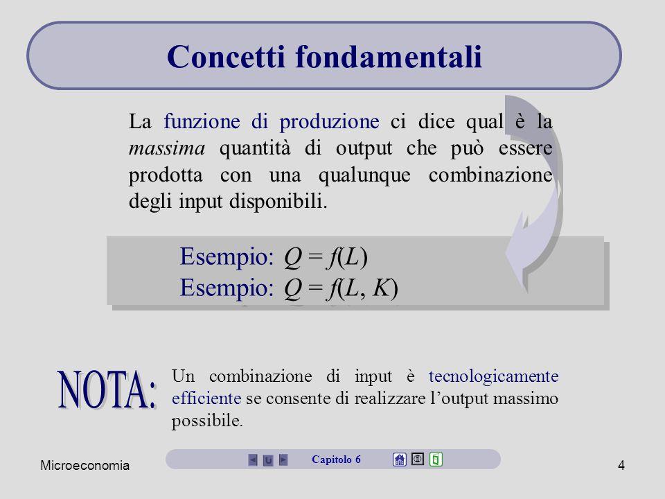 Microeconomia4 Esempio: Q = f(L) Esempio: Q = f(L, K) Esempio: Q = f(L) Esempio: Q = f(L, K) La funzione di produzione ci dice qual è la massima quant