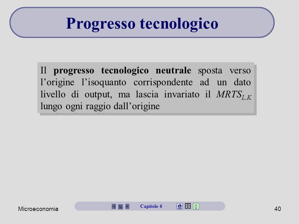 Microeconomia40 Il progresso tecnologico neutrale sposta verso l'origine l'isoquanto corrispondente ad un dato livello di output, ma lascia invariato