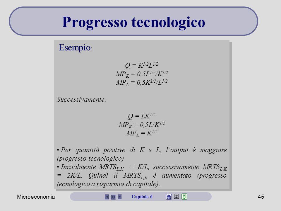 Microeconomia45 Esempio : Q = K 1/2 L 1/2 MP K = 0,5L 1/2 /K 1/2 MP L = 0,5K 1/2 /L 1/2 Successivamente: Q = LK 1/2 MP K = 0,5L/K 1/2 MP L = K 1/2 Per