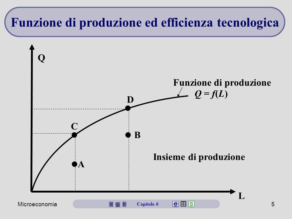 Microeconomia5 Q = f(L) L Q C D A B Insieme di produzione Funzione di produzione Funzione di produzione ed efficienza tecnologica Capitolo 6