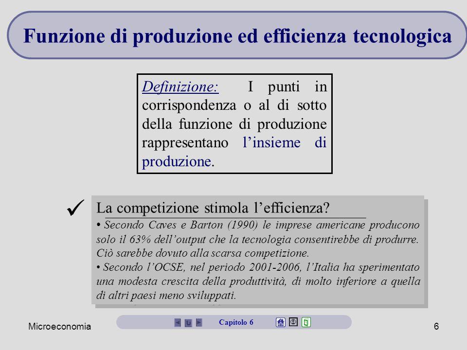 Microeconomia6 Definizione: I punti in corrispondenza o al di sotto della funzione di produzione rappresentano l'insieme di produzione. Funzione di pr