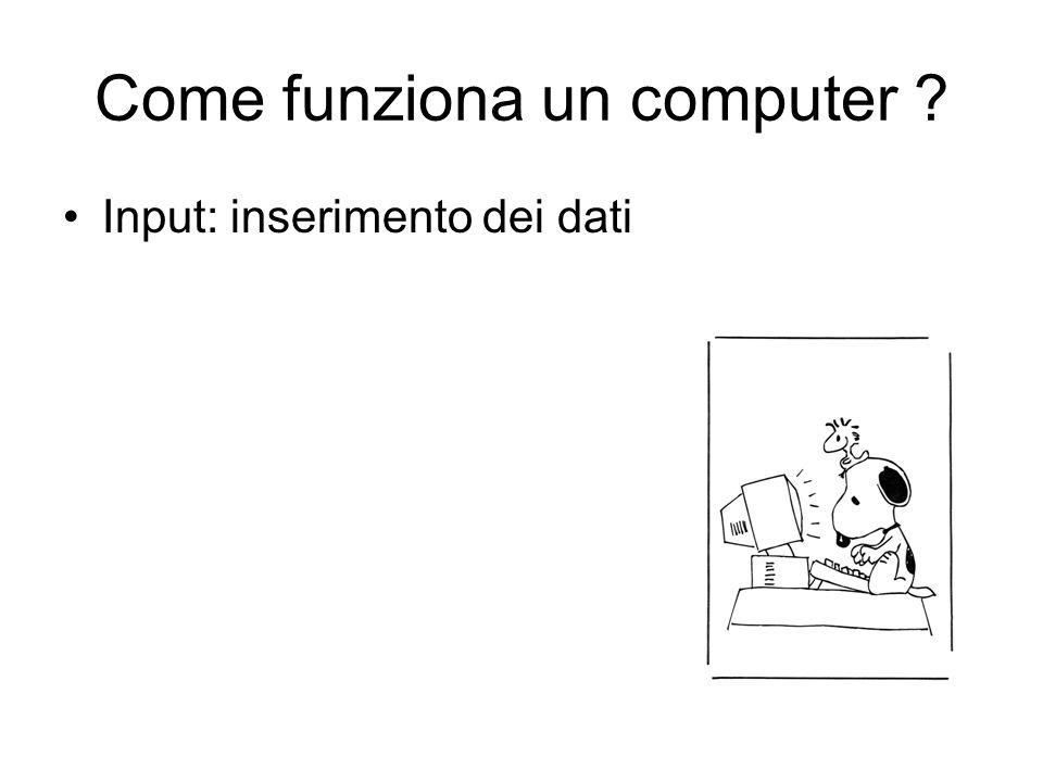 Come funziona un computer ? Input: inserimento dei dati Elaborazione (?)