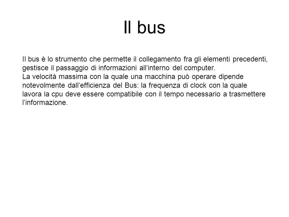Il bus Il bus è lo strumento che permette il collegamento fra gli elementi precedenti, gestisce il passaggio di informazioni all'interno del computer.
