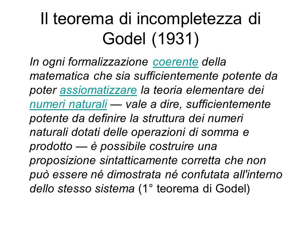 Il teorema di incompletezza di Godel (1931) In ogni formalizzazione coerente della matematica che sia sufficientemente potente da poter assiomatizzare