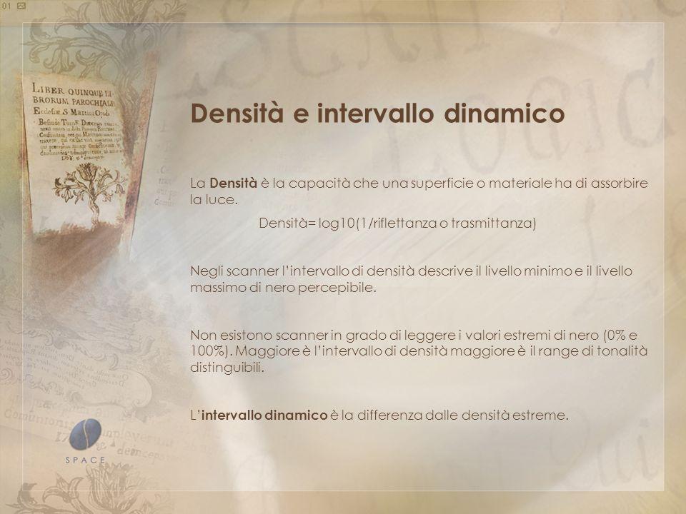 Densità e intervallo dinamico La Densità è la capacità che una superficie o materiale ha di assorbire la luce.