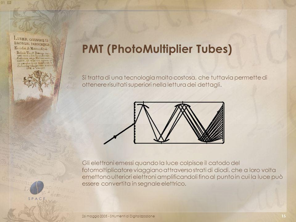 26 maggio 2005 - Strumenti di Digitalizzazione 15 PMT (PhotoMultiplier Tubes) Si tratta di una tecnologia molto costosa, che tuttavia permette di ottenere risultati superiori nella lettura dei dettagli.
