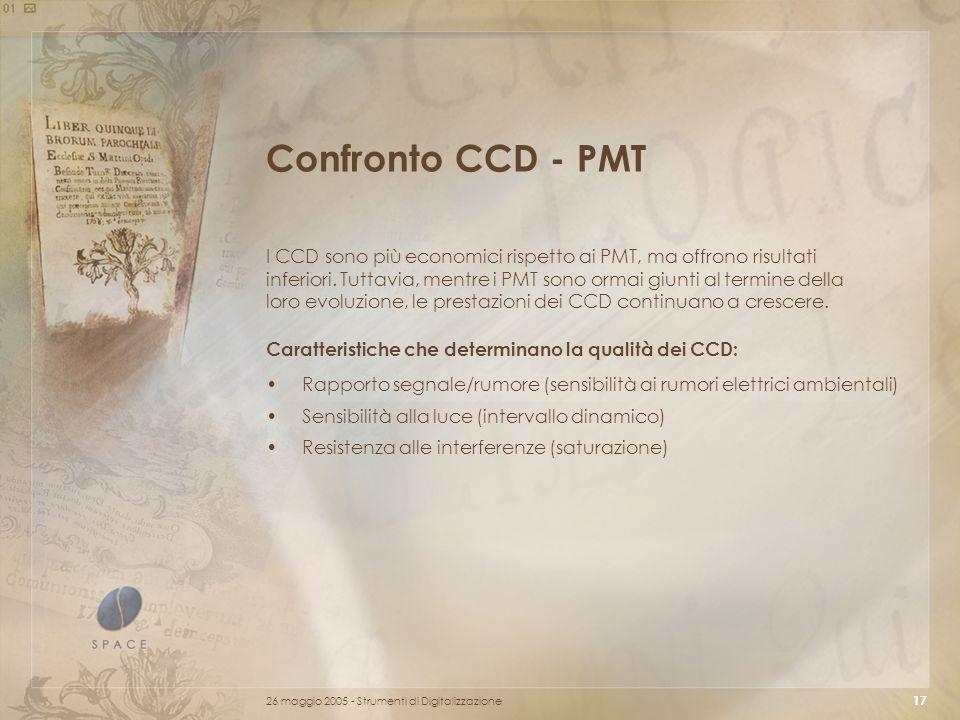 26 maggio 2005 - Strumenti di Digitalizzazione 17 Confronto CCD - PMT Rapporto segnale/rumore (sensibilità ai rumori elettrici ambientali) Sensibilità alla luce (intervallo dinamico) Resistenza alle interferenze (saturazione) Caratteristiche che determinano la qualità dei CCD: I CCD sono più economici rispetto ai PMT, ma offrono risultati inferiori.