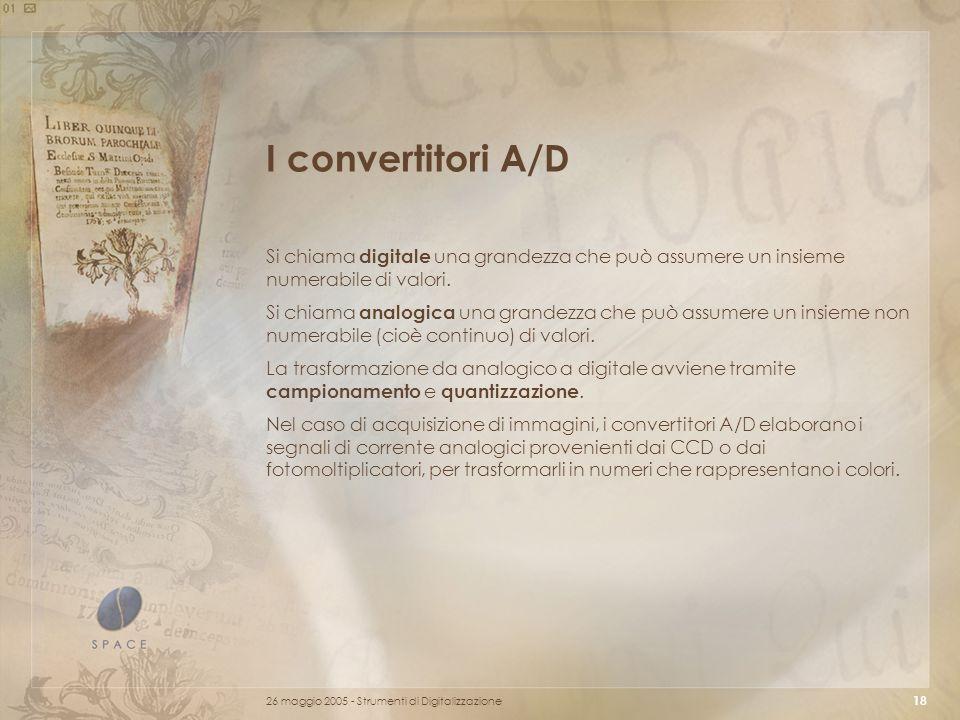 26 maggio 2005 - Strumenti di Digitalizzazione 18 I convertitori A/D Si chiama digitale una grandezza che può assumere un insieme numerabile di valori.