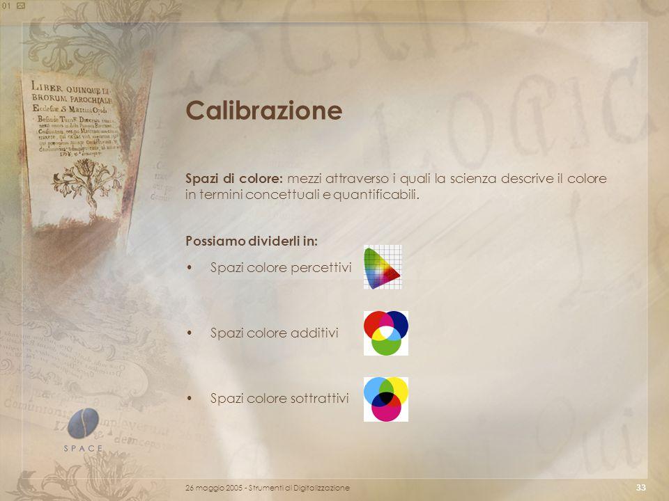 26 maggio 2005 - Strumenti di Digitalizzazione 33 Calibrazione Spazi di colore: mezzi attraverso i quali la scienza descrive il colore in termini concettuali e quantificabili.