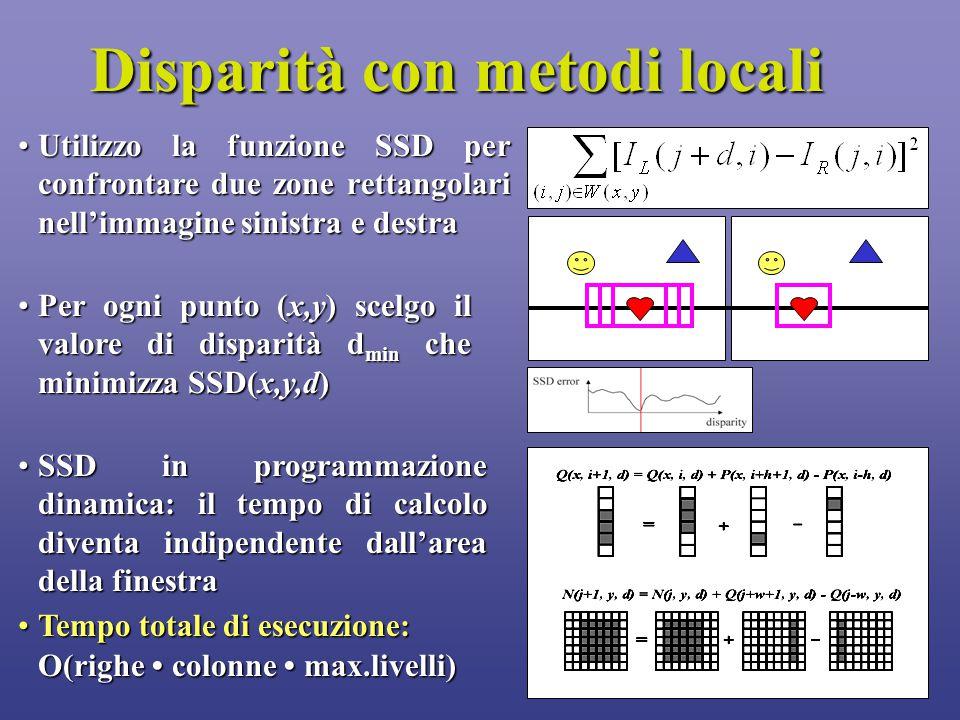 6 Disparità con metodi locali Utilizzo la funzione SSD per confrontare due zone rettangolari nell'immagine sinistra e destraUtilizzo la funzione SSD per confrontare due zone rettangolari nell'immagine sinistra e destra Per ogni punto (x,y) scelgo il valore di disparità d min che minimizza SSD(x,y,d)Per ogni punto (x,y) scelgo il valore di disparità d min che minimizza SSD(x,y,d) SSD in programmazione dinamica: il tempo di calcolo diventa indipendente dall'area della finestraSSD in programmazione dinamica: il tempo di calcolo diventa indipendente dall'area della finestra Tempo totale di esecuzione:Tempo totale di esecuzione: O(righe colonne max.livelli)