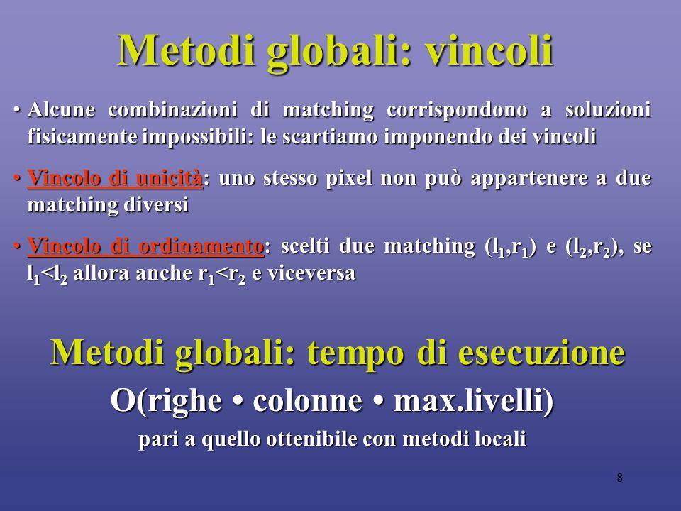 8 Metodi globali: vincoli Alcune combinazioni di matching corrispondono a soluzioni fisicamente impossibili: le scartiamo imponendo dei vincoliAlcune