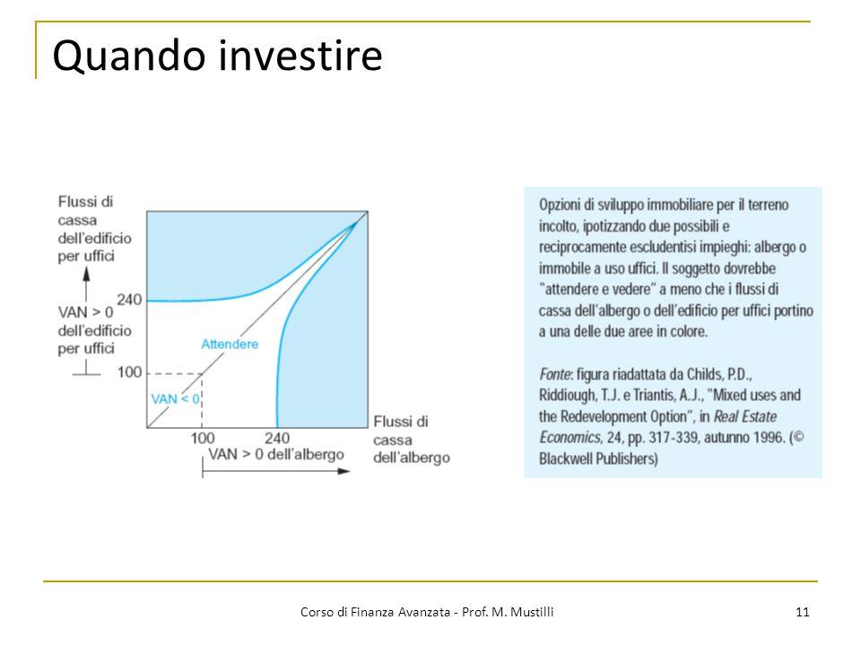 Quando investire 11 Corso di Finanza Avanzata - Prof. M. Mustilli