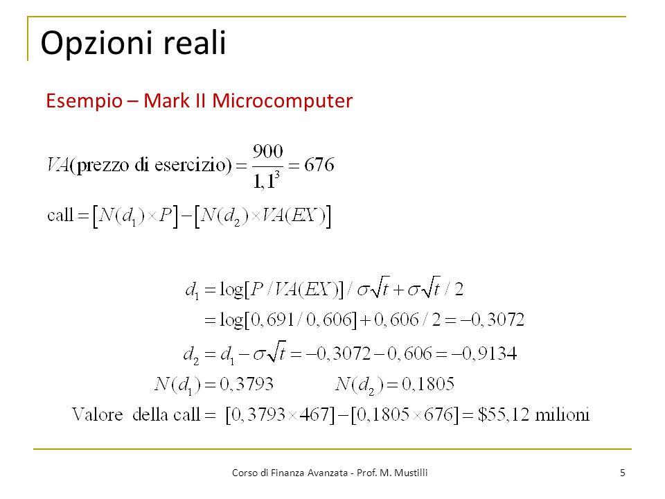 Opzioni reali 5 Corso di Finanza Avanzata - Prof. M. Mustilli Esempio – Mark II Microcomputer