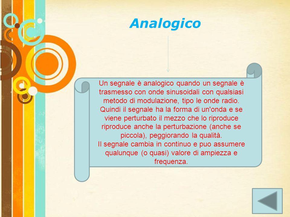 Free Powerpoint Templates Page 3 Analogico Un segnale è analogico quando un segnale è trasmesso con onde sinusoidali con qualsiasi metodo di modulazione, tipo le onde radio.