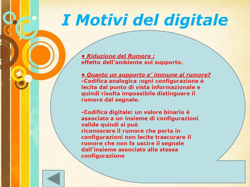 Free Powerpoint Templates Page 6 I Motivi del digitale Riduzione del Rumore : effetto dell'ambiente sul supporto.