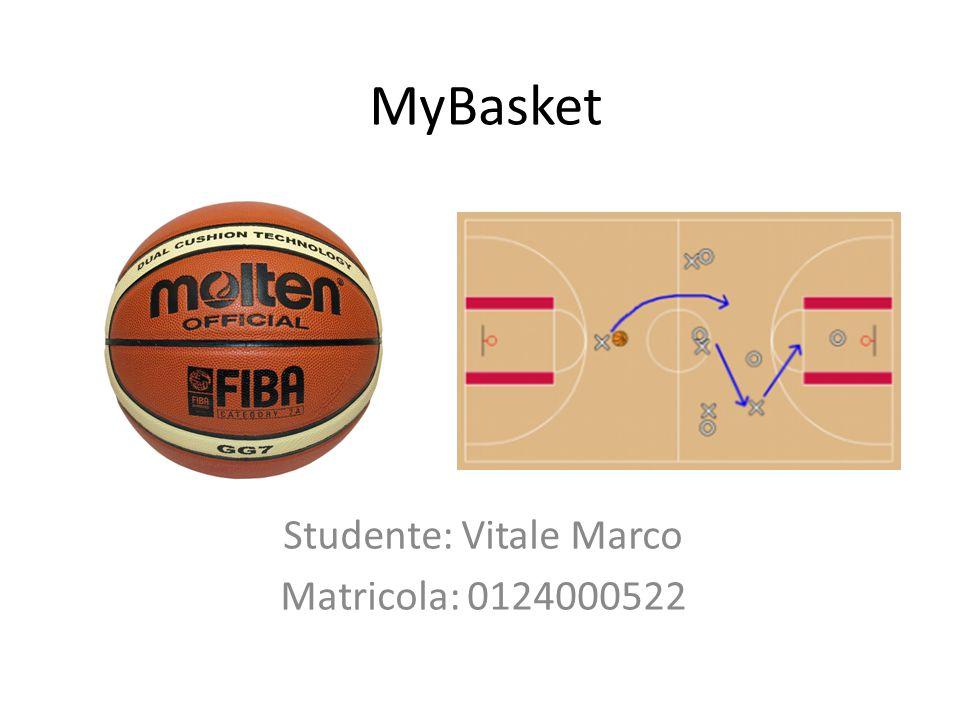 MyBasket Studente: Vitale Marco Matricola: 0124000522