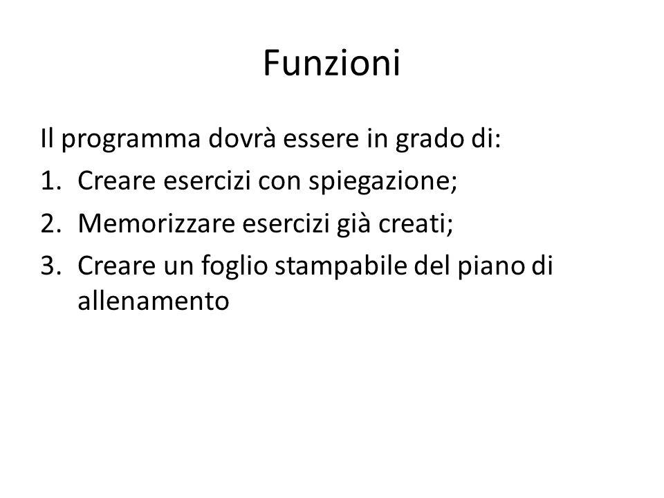 Funzioni Il programma dovrà essere in grado di: 1.Creare esercizi con spiegazione; 2.Memorizzare esercizi già creati; 3.Creare un foglio stampabile del piano di allenamento