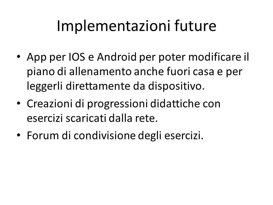 Implementazioni future App per IOS e Android per poter modificare il piano di allenamento anche fuori casa e per leggerli direttamente da dispositivo.