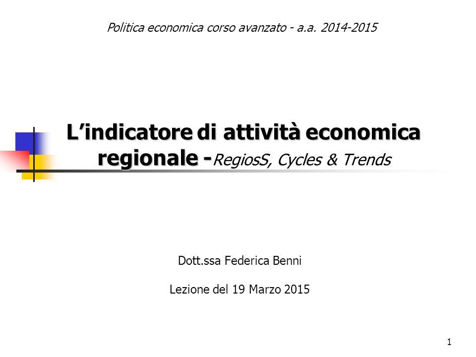 1 L'indicatore di attività economica regionale - L'indicatore di attività economica regionale - RegiosS, Cycles & Trends Dott.ssa Federica Benni Lezio