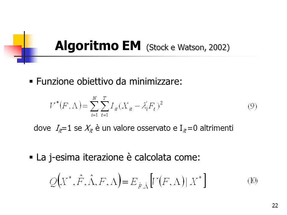 22 (Stock e Watson, 2002) Algoritmo EM (Stock e Watson, 2002)  Funzione obiettivo da minimizzare: dove I it =1 se X it è un valore osservato e I it =