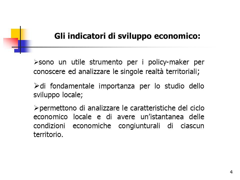 4 Gli indicatori di sviluppo economico:  sono un utile strumento per i policy-maker per conoscere ed analizzare le singole realtà territoriali ;  di