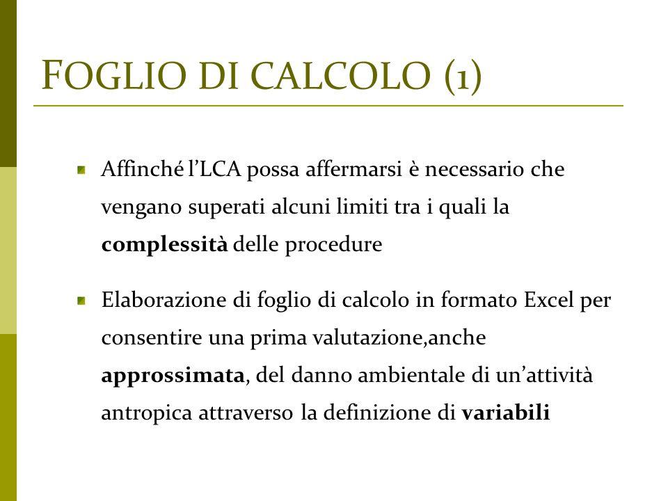 F OGLIO DI CALCOLO (1) Affinché l'LCA possa affermarsi è necessario che vengano superati alcuni limiti tra i quali la complessità delle procedure Elab