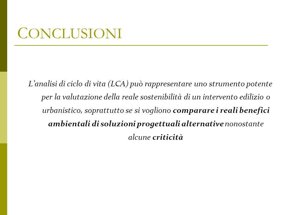 C ONCLUSIONI L'analisi di ciclo di vita (LCA) può rappresentare uno strumento potente per la valutazione della reale sostenibilità di un intervento ed