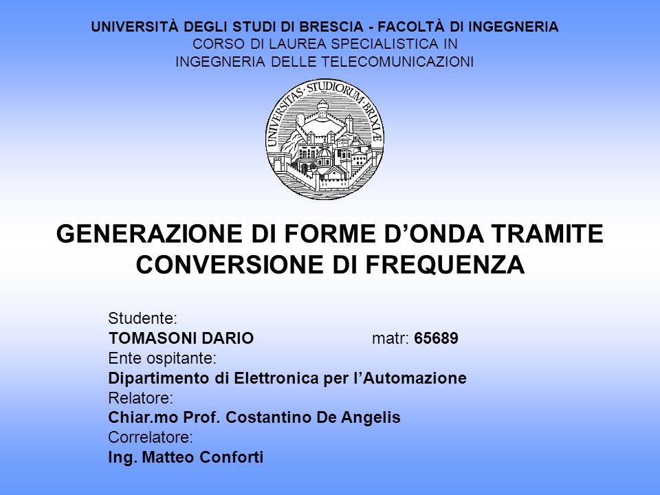 UNIVERSITÀ DEGLI STUDI DI BRESCIA - FACOLTÀ DI INGEGNERIA CORSO DI LAUREA SPECIALISTICA IN INGEGNERIA DELLE TELECOMUNICAZIONI Studente: TOMASONI DARIO