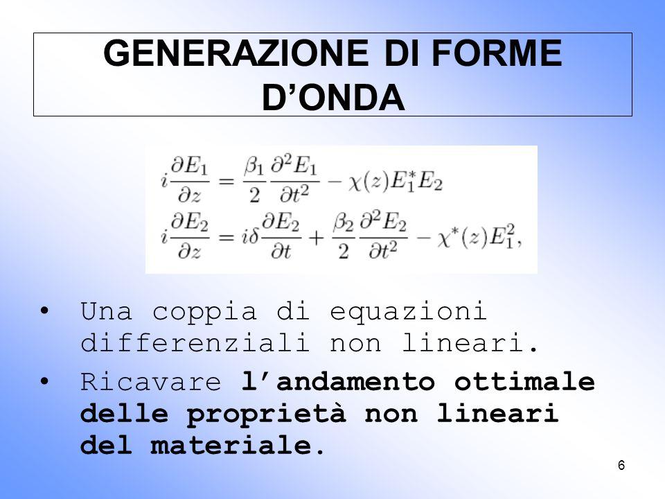6 GENERAZIONE DI FORME D'ONDA Una coppia di equazioni differenziali non lineari. Ricavare l'andamento ottimale delle proprietà non lineari del materia