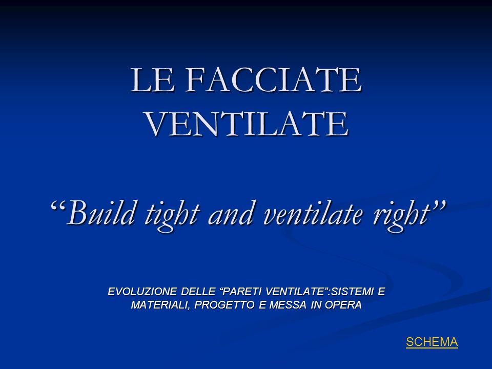 """LE FACCIATE VENTILATE """"Build tight and ventilate right"""" EVOLUZIONE DELLE """"PARETI VENTILATE"""":SISTEMI E MATERIALI, PROGETTO E MESSA IN OPERA SCHEMA"""