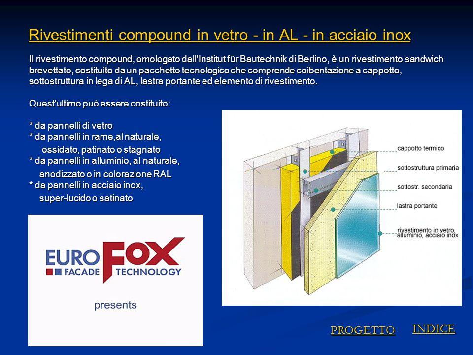 Rivestimenti compound in vetro - in AL - in acciaio inox Rivestimenti compound in vetro - in AL - in acciaio inox Il rivestimento compound, omologato