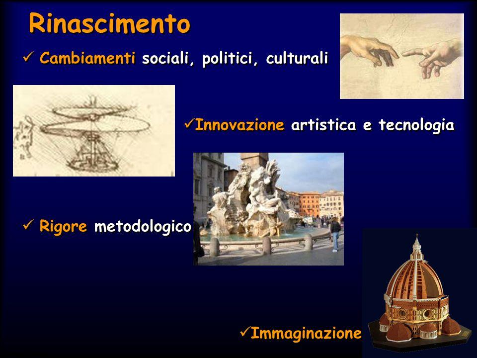 Simit 11/2008 Rinascimento Cambiamenti sociali, politici, culturali Innovazione artistica e tecnologia Rigore metodologico Immaginazione Cambiamenti s
