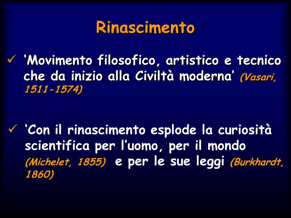 Simit 11/2008 Rinascimento 'Movimento filosofico, artistico e tecnico che da inizio alla Civiltà moderna' (Vasari, 1511-1574) 'Con il rinascimento esp