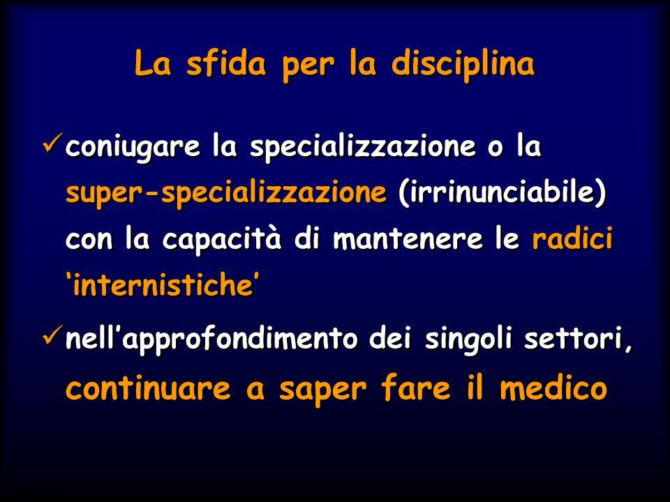 Simit 11/2008 La sfida per la disciplina coniugare la specializzazione o la super-specializzazione (irrinunciabile) con la capacità di mantenere le ra