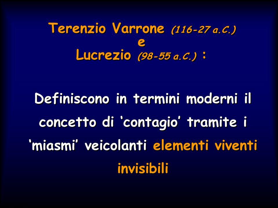 Simit 11/2008 Terenzio Varrone (116-27 a.C.) e Lucrezio (98-55 a.C.) : Definiscono in termini moderni il concetto di 'contagio' tramite i 'miasmi' veicolanti elementi viventi invisibili