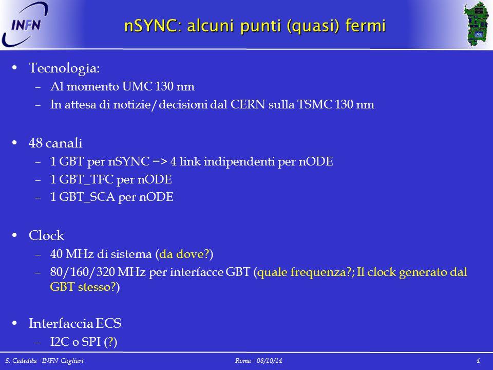 nSYNC: alcuni punti (quasi) fermi Tecnologia: –Al momento UMC 130 nm –In attesa di notizie/decisioni dal CERN sulla TSMC 130 nm 48 canali –1 GBT per n