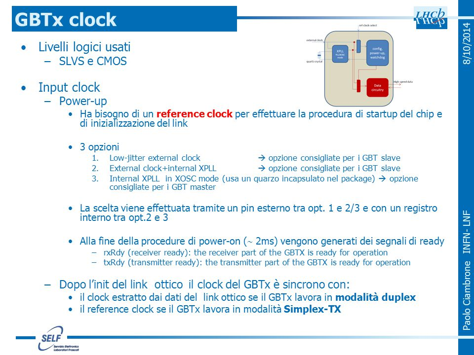 Paolo Ciambrone INFN- LNF 8/10/2014 Livelli logici usati –SLVS e CMOS Input clock –Power-up Ha bisogno di un reference clock per effettuare la procedu