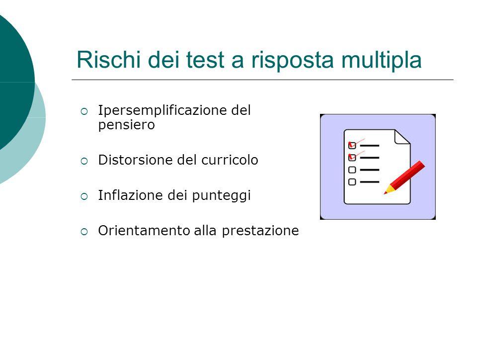 Rischi dei test a risposta multipla  Ipersemplificazione del pensiero  Distorsione del curricolo  Inflazione dei punteggi  Orientamento alla prest