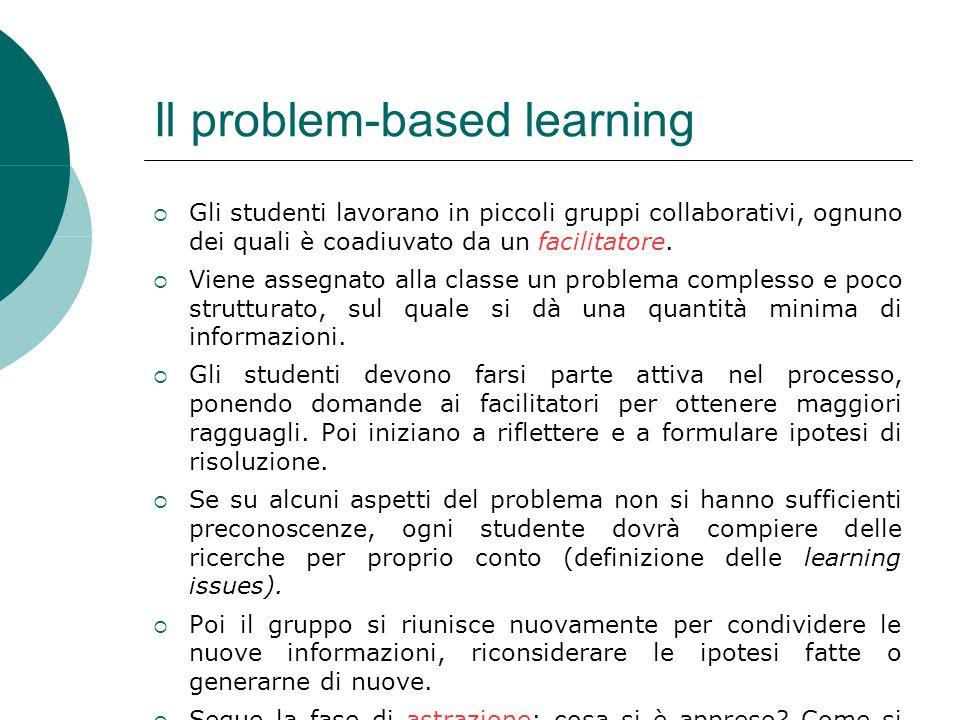 Il problem-based learning  Gli studenti lavorano in piccoli gruppi collaborativi, ognuno dei quali è coadiuvato da un facilitatore.  Viene assegnato