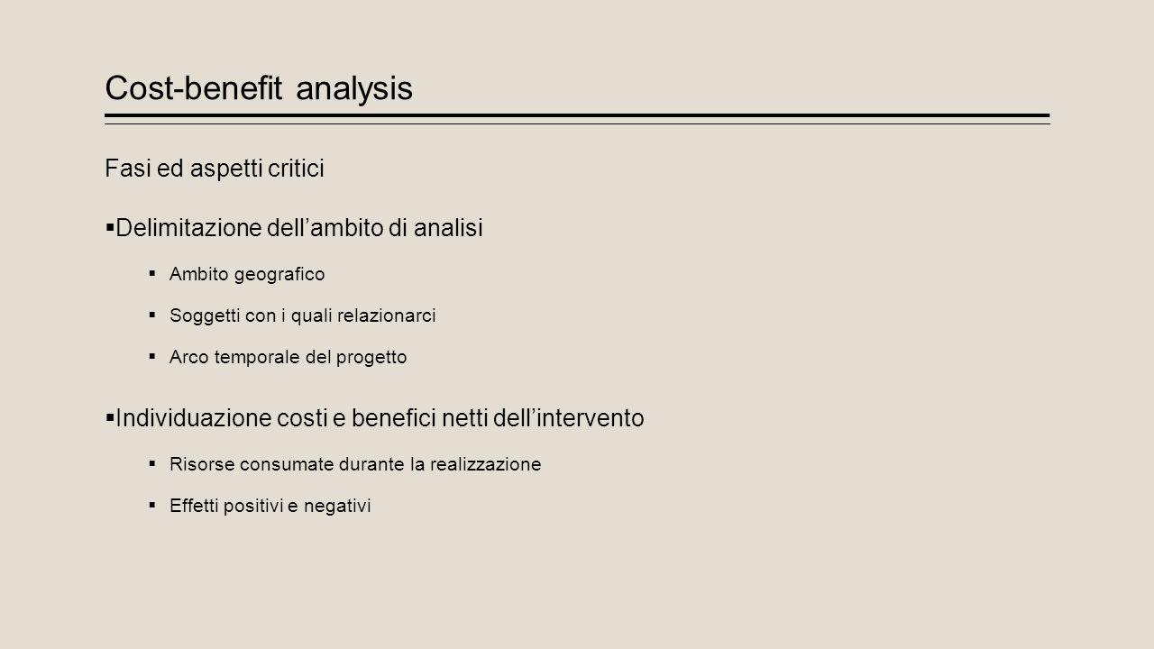 Cost-benefit analysis Fasi ed aspetti critici  Delimitazione dell'ambito di analisi  Ambito geografico  Soggetti con i quali relazionarci  Arco te