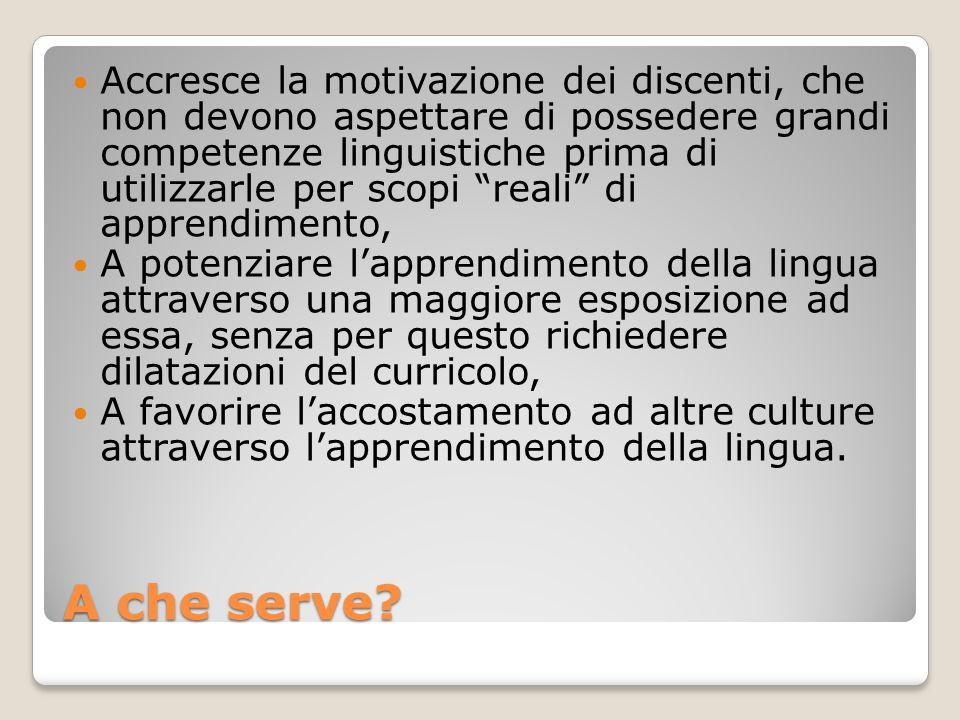 A che serve? Accresce la motivazione dei discenti, che non devono aspettare di possedere grandi competenze linguistiche prima di utilizzarle per scopi