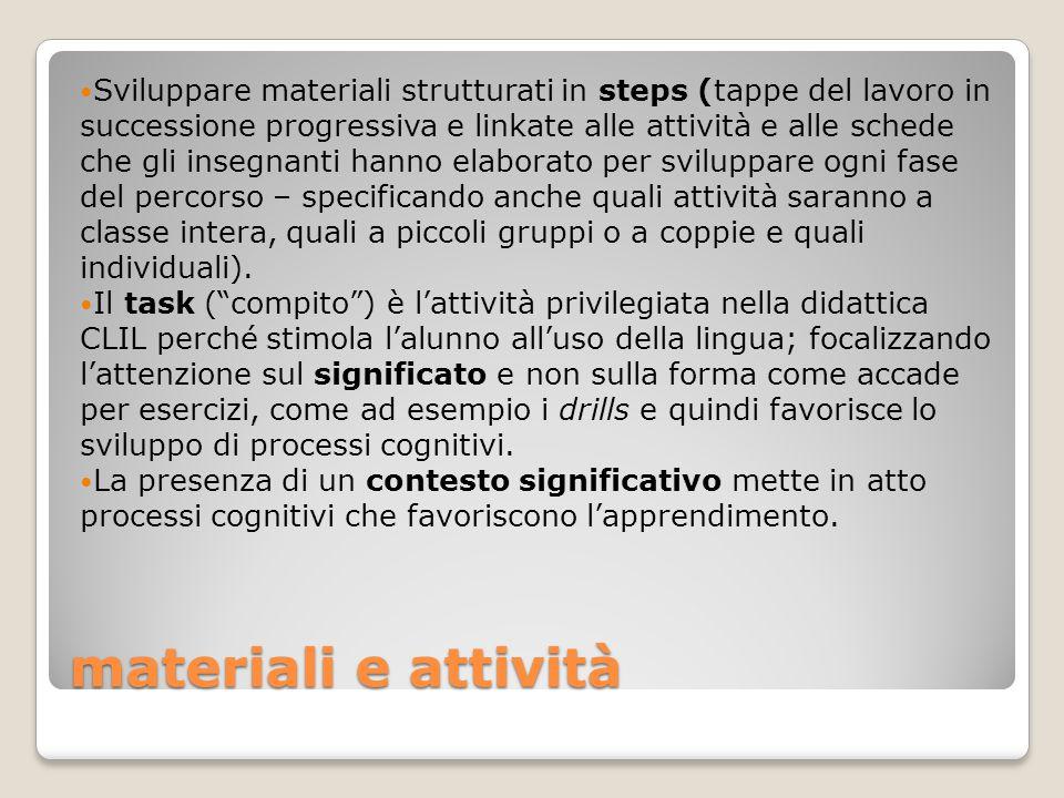 materiali e attività Sviluppare materiali strutturati in steps (tappe del lavoro in successione progressiva e linkate alle attività e alle schede che