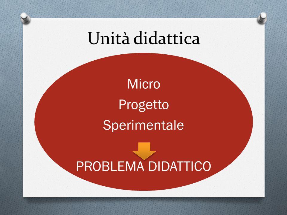 Unità didattica Micro Progetto Sperimentale PROBLEMA DIDATTICO