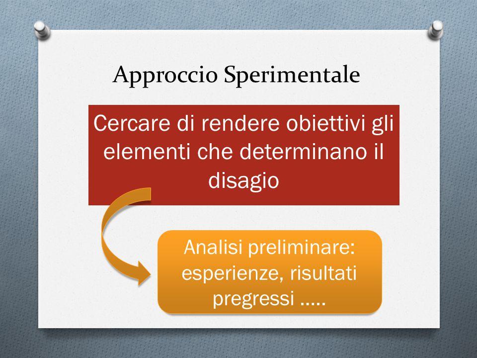 Approccio Sperimentale Cercare di rendere obiettivi gli elementi che determinano il disagio Analisi preliminare: esperienze, risultati pregressi …..