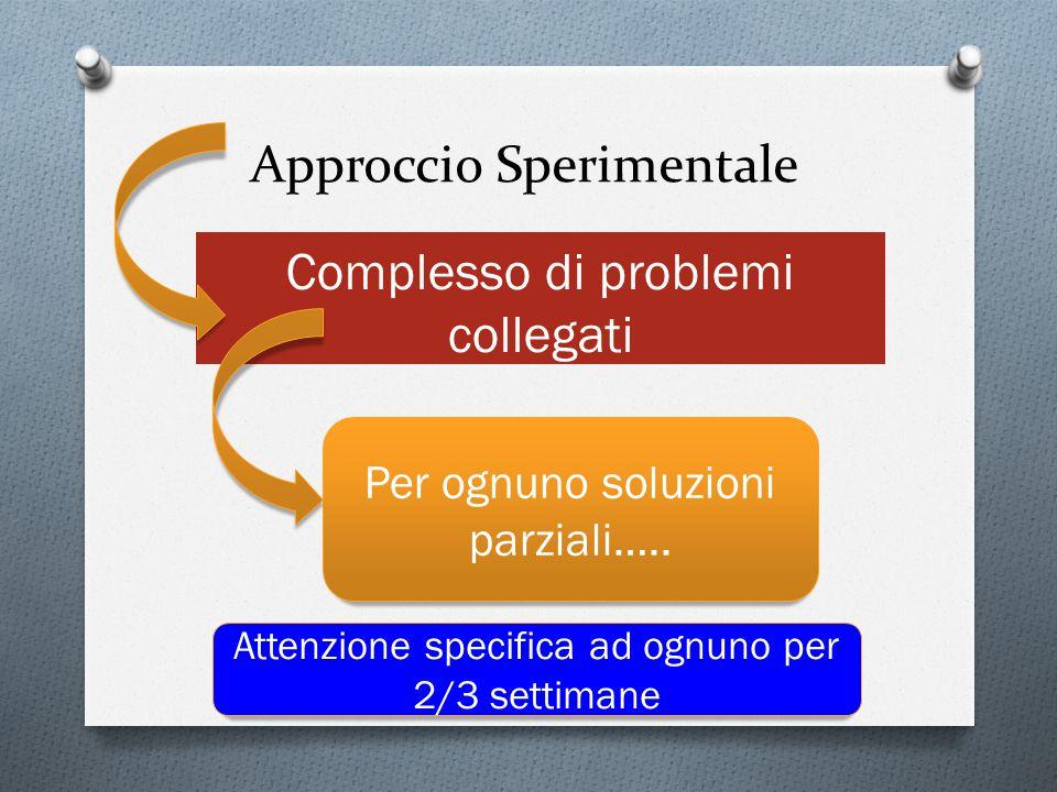 Approccio Sperimentale Complesso di problemi collegati Per ognuno soluzioni parziali….. Attenzione specifica ad ognuno per 2/3 settimane